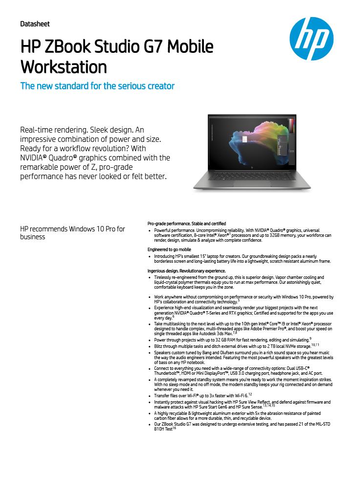 Download HP ZBook Studio G7 specification