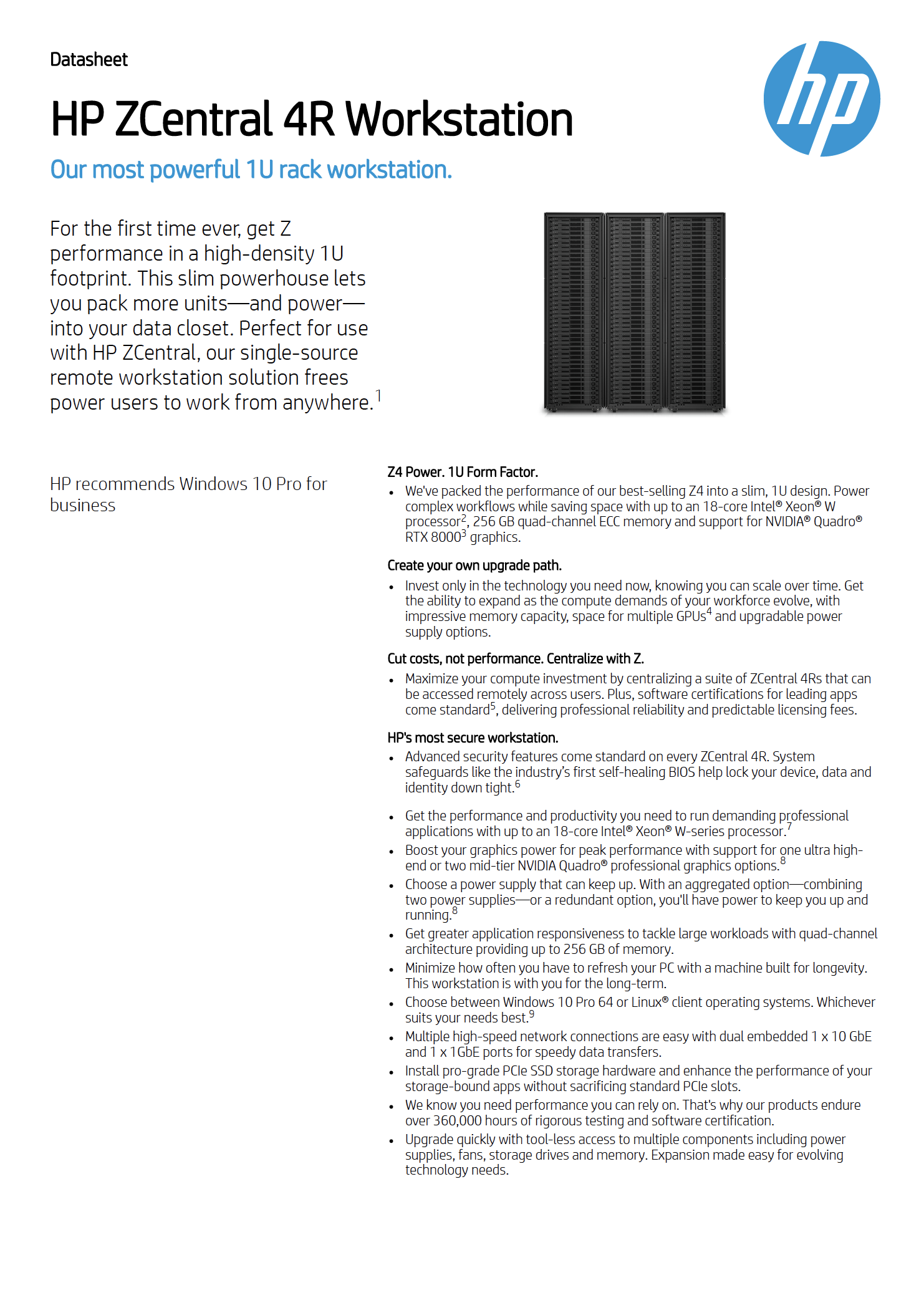 Download the data sheet for the HP ZCentral 4R Workstation